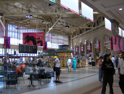 South Station, covered in iPod ads